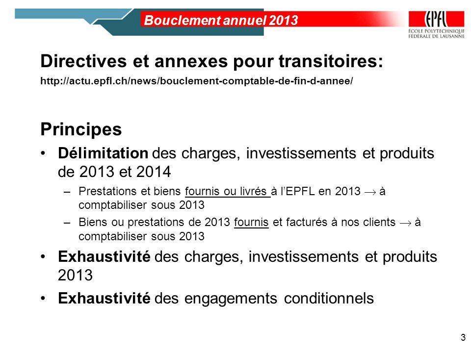 Directives et annexes pour transitoires: http://actu.epfl.ch/news/bouclement-comptable-de-fin-d-annee/ Principes Délimitation des charges, investissem
