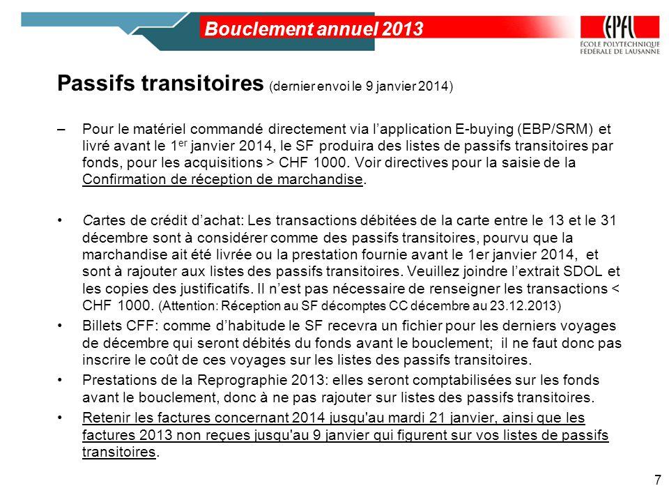 Passifs transitoires (dernier envoi le 9 janvier 2014) –Pour le matériel commandé directement via lapplication E-buying (EBP/SRM) et livré avant le 1