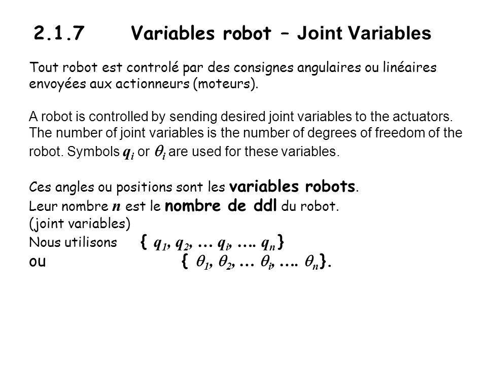 Variables opérationnelles – Operational (Task-specific) variables La tâche du robot se décrit dans dautres termes: Position et orientation de loutil, de lobjet à manipuler.