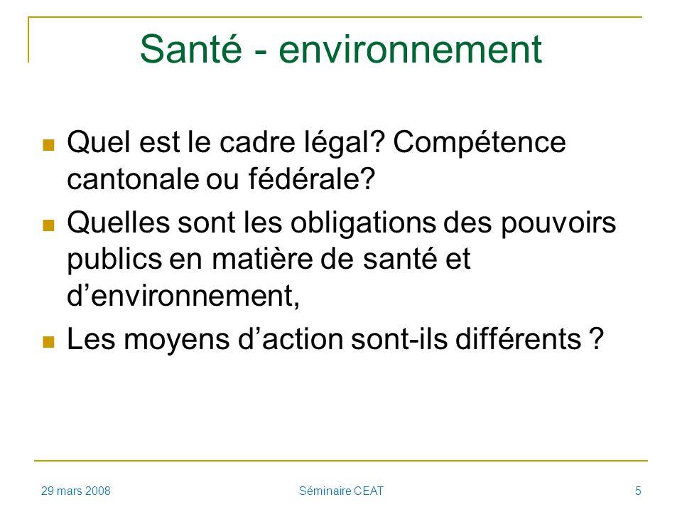 Santé - environnement Quel est le cadre légal.Compétence cantonale ou fédérale.