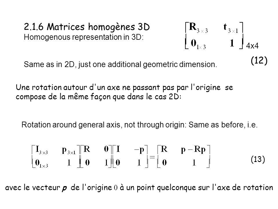 2.1.6 Matrices homogènes 3D Homogenous representation in 3D: Une rotation autour d'un axe ne passant pas par l'origine se compose de la même façon que