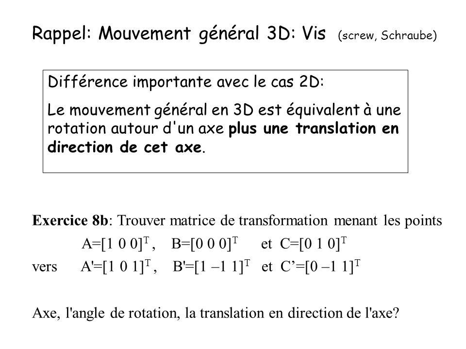 Rappel: Mouvement général 3D: Vis (screw, Schraube) Différence importante avec le cas 2D: Le mouvement général en 3D est équivalent à une rotation aut
