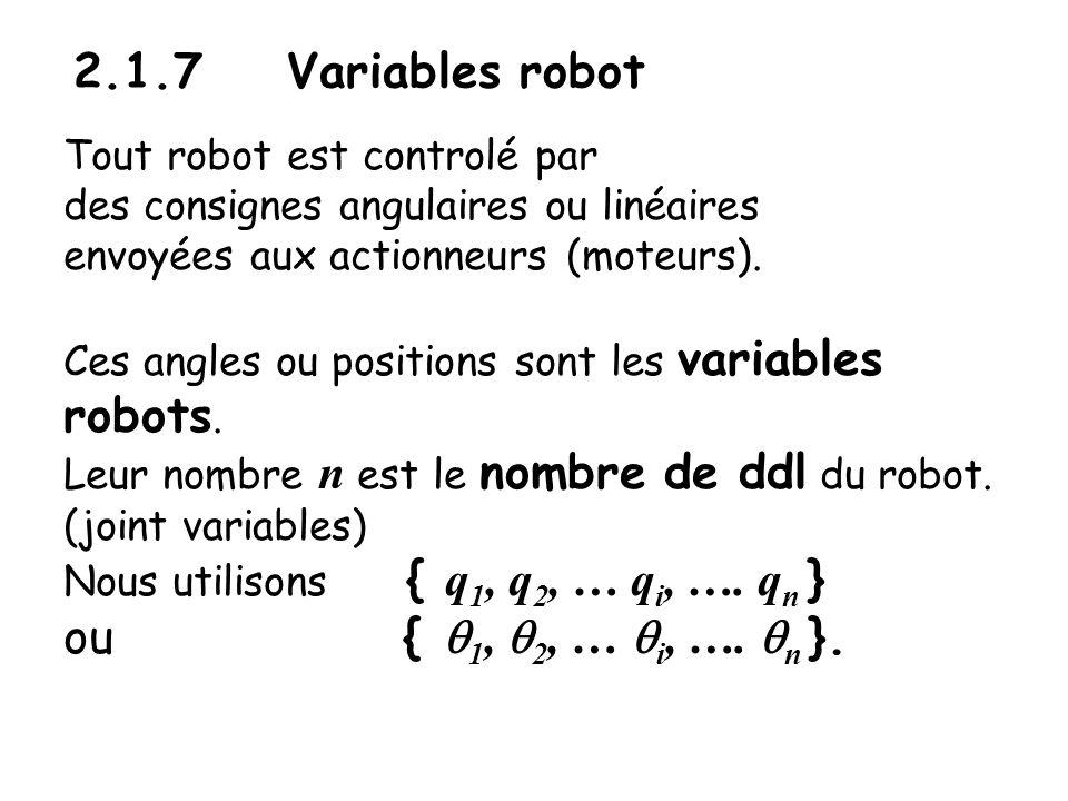 2.1.7 Variables robot Tout robot est controlé par des consignes angulaires ou linéaires envoyées aux actionneurs (moteurs). Ces angles ou positions so