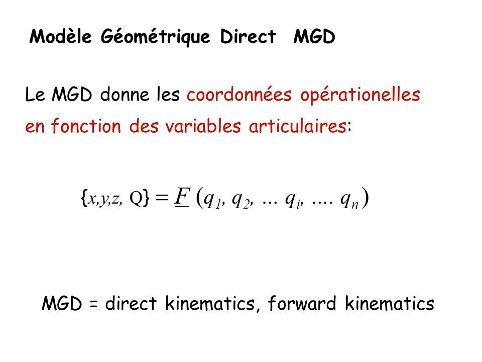 Modèle Géométrique Direct MGD Le MGD donne les coordonnées opérationelles en fonction des variables articulaires: { x,y,z, Q } F q 1, q 2, … q i, …. q
