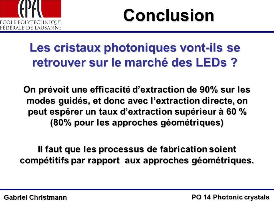 PO 14 Photonic crystals Gabriel Christmann Conclusion Les cristaux photoniques vont-ils se retrouver sur le marché des LEDs .