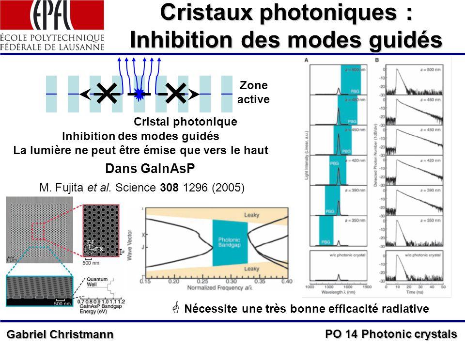 PO 14 Photonic crystals Gabriel Christmann Cristaux photoniques : Inhibition des modes guidés Cristal photonique Inhibition des modes guidés La lumière ne peut être émise que vers le haut Zone active Dans GaInAsP Nécessite une très bonne efficacité radiative M.