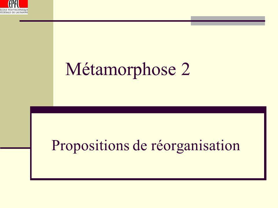 Métamorphose 2 Propositions de réorganisation