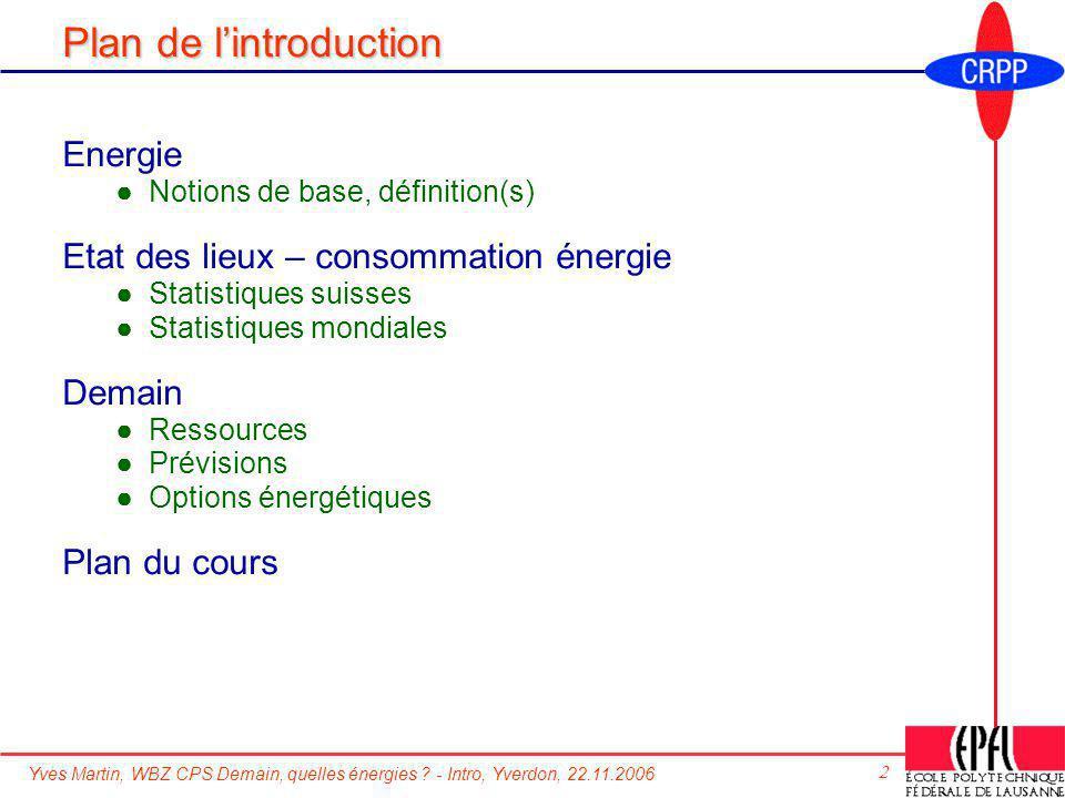 Yves Martin, WBZ CPS Demain, quelles énergies ? - Intro, Yverdon, 22.11.2006 2 Plan de lintroduction Energie Notions de base, définition(s) Etat des l
