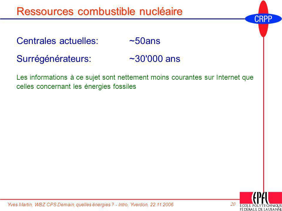 Yves Martin, WBZ CPS Demain, quelles énergies ? - Intro, Yverdon, 22.11.2006 20 Ressources combustible nucléaire Centrales actuelles: ~50ans Surrégéné