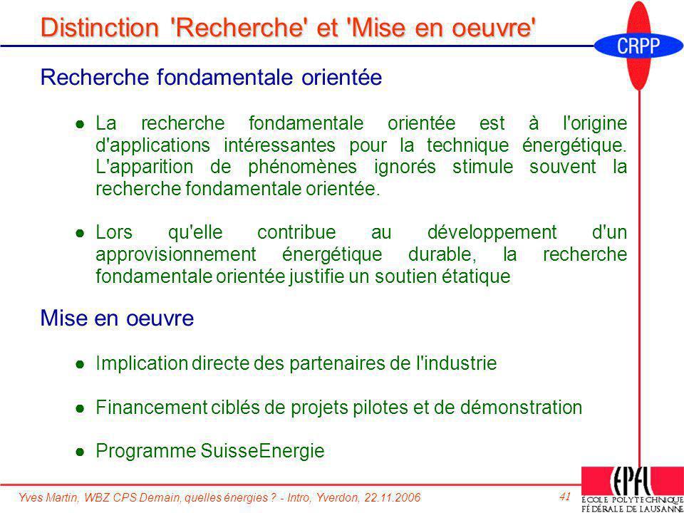 Yves Martin, WBZ CPS Demain, quelles énergies ? - Intro, Yverdon, 22.11.2006 41 Distinction 'Recherche' et 'Mise en oeuvre' Recherche fondamentale ori