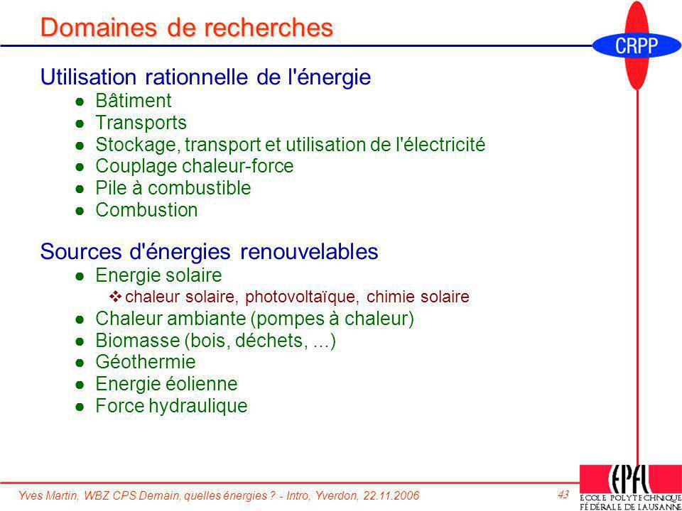 Yves Martin, WBZ CPS Demain, quelles énergies ? - Intro, Yverdon, 22.11.2006 43 Domaines de recherches Utilisation rationnelle de l'énergie Bâtiment T