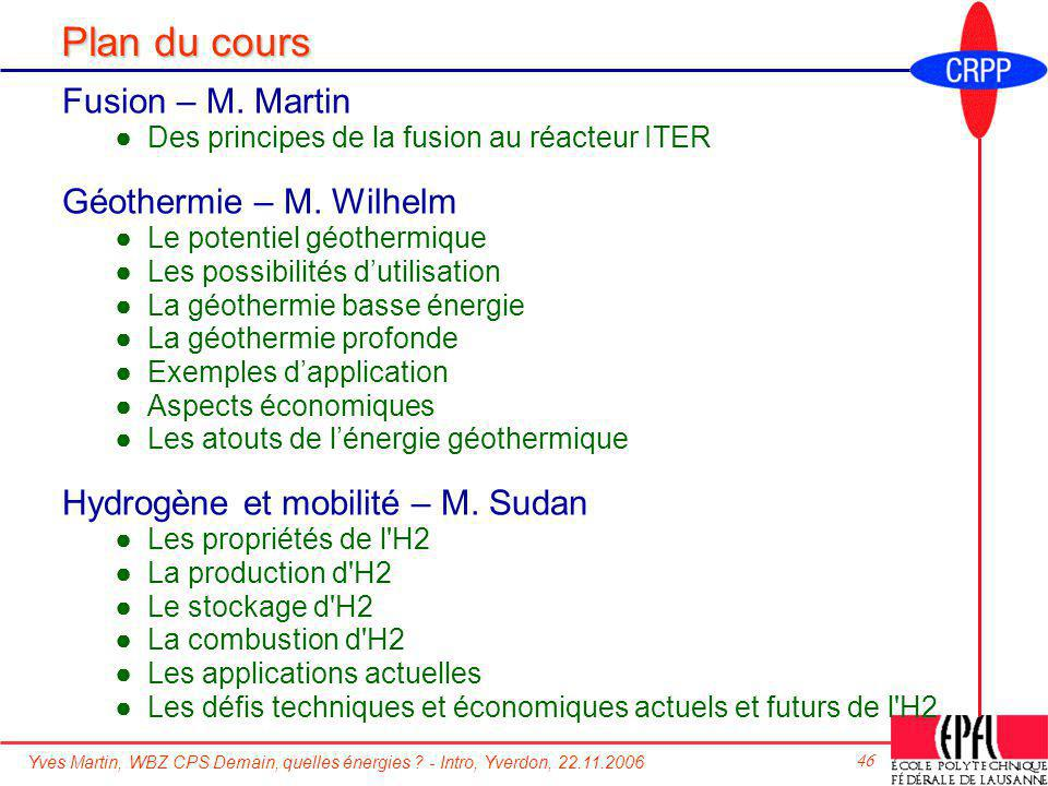 Yves Martin, WBZ CPS Demain, quelles énergies ? - Intro, Yverdon, 22.11.2006 46 Plan du cours Fusion – M. Martin Des principes de la fusion au réacteu