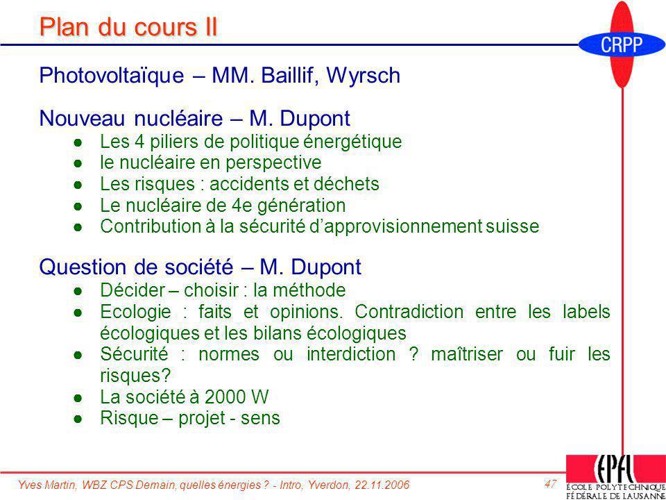 Yves Martin, WBZ CPS Demain, quelles énergies ? - Intro, Yverdon, 22.11.2006 47 Plan du cours II Photovoltaïque – MM. Baillif, Wyrsch Nouveau nucléair