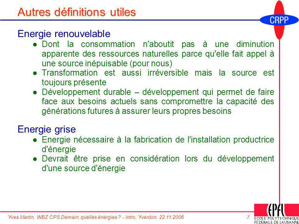 Yves Martin, WBZ CPS Demain, quelles énergies ? - Intro, Yverdon, 22.11.2006 5 Autres définitions utiles Energie renouvelable Dont la consommation n'a