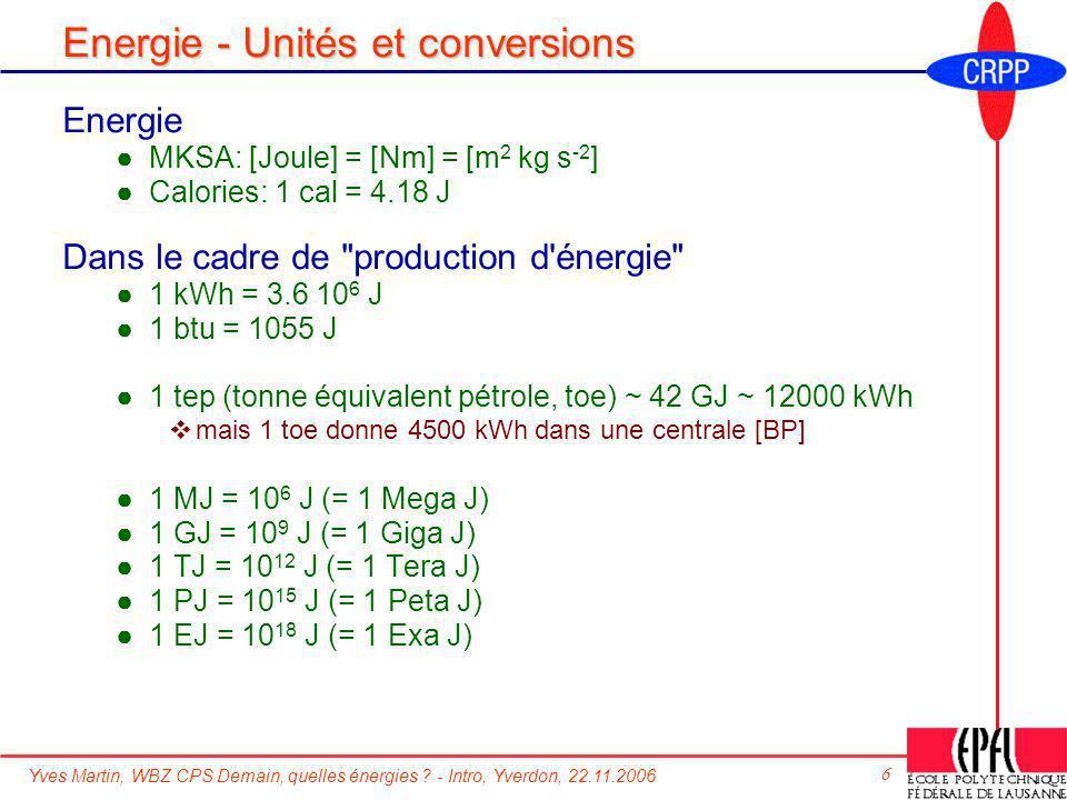 Yves Martin, WBZ CPS Demain, quelles énergies ? - Intro, Yverdon, 22.11.2006 6 Energie - Unités et conversions Energie MKSA: [Joule] = [Nm] = [m 2 kg