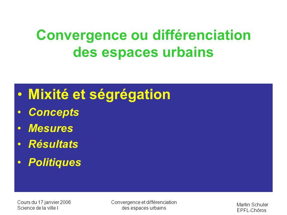 Martin Schuler EPFL-Chôros Cours du 17 janvier 2006 Science de la ville I Convergence et différenciation des espaces urbains Indice de ségrégation, IS= ½ x i -y i *100