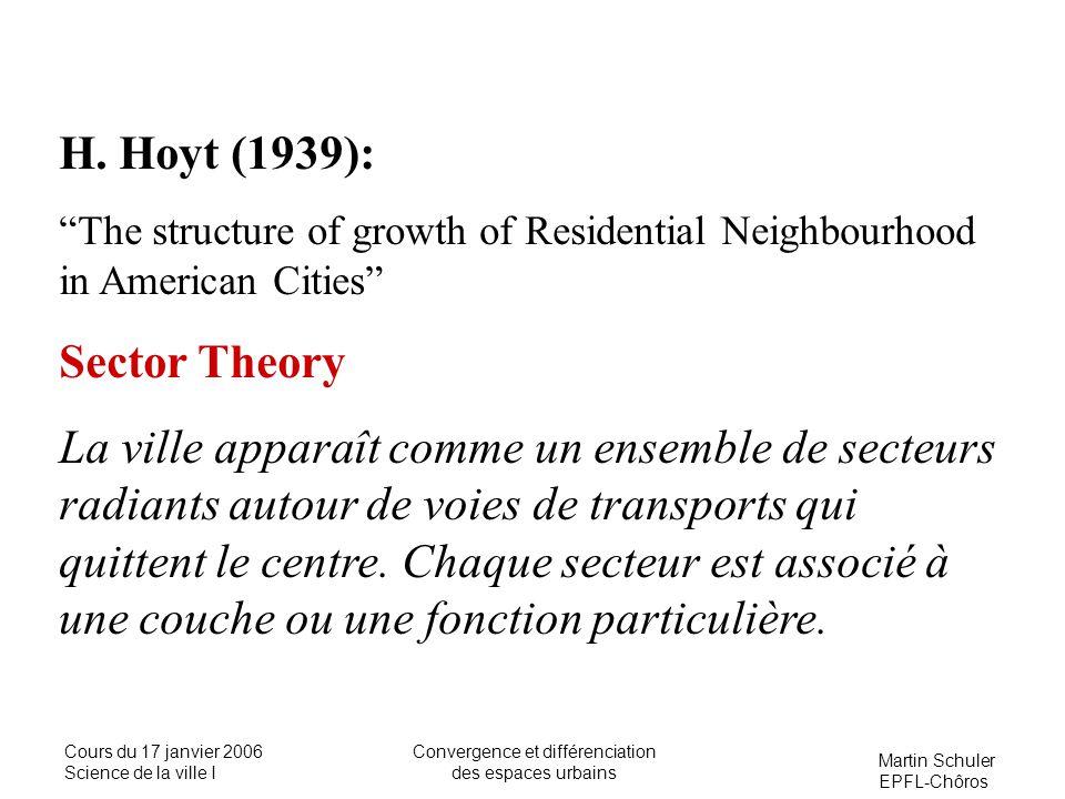 Martin Schuler EPFL-Chôros Cours du 17 janvier 2006 Science de la ville I Convergence et différenciation des espaces urbains H. Hoyt (1939): The struc