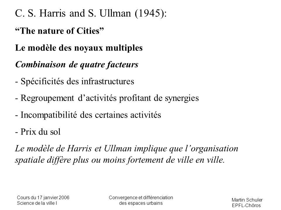 Martin Schuler EPFL-Chôros Cours du 17 janvier 2006 Science de la ville I Convergence et différenciation des espaces urbains C. S. Harris and S. Ullma