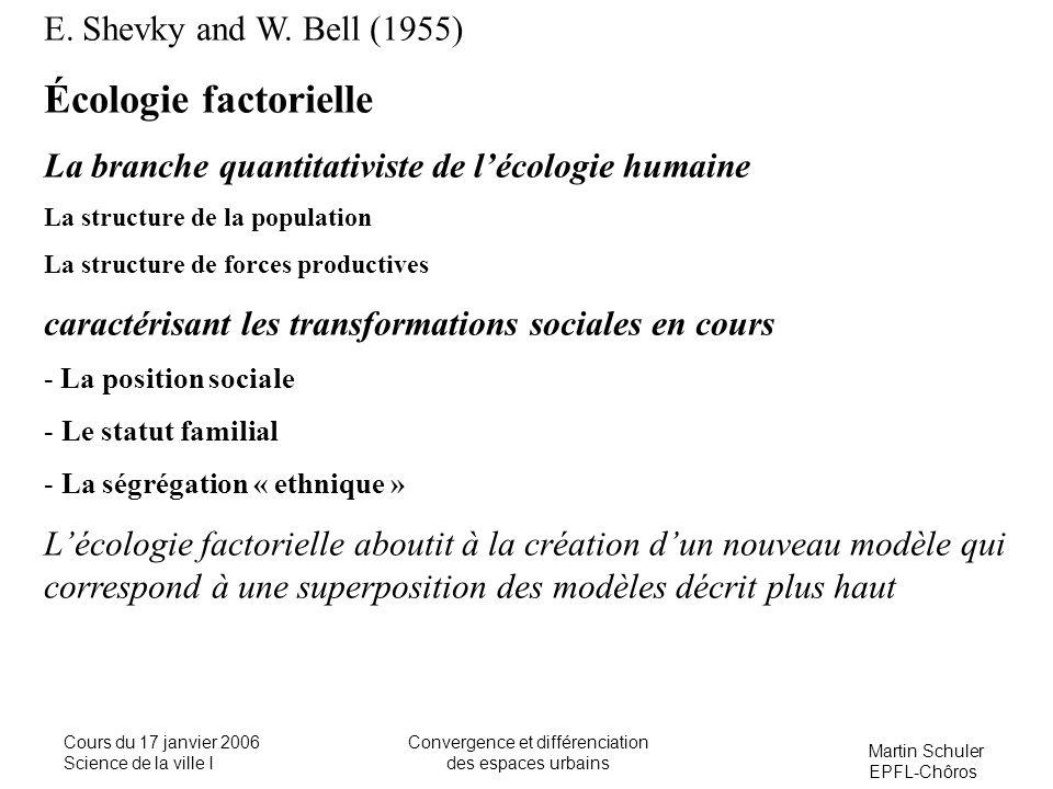 Martin Schuler EPFL-Chôros Cours du 17 janvier 2006 Science de la ville I Convergence et différenciation des espaces urbains E. Shevky and W. Bell (19