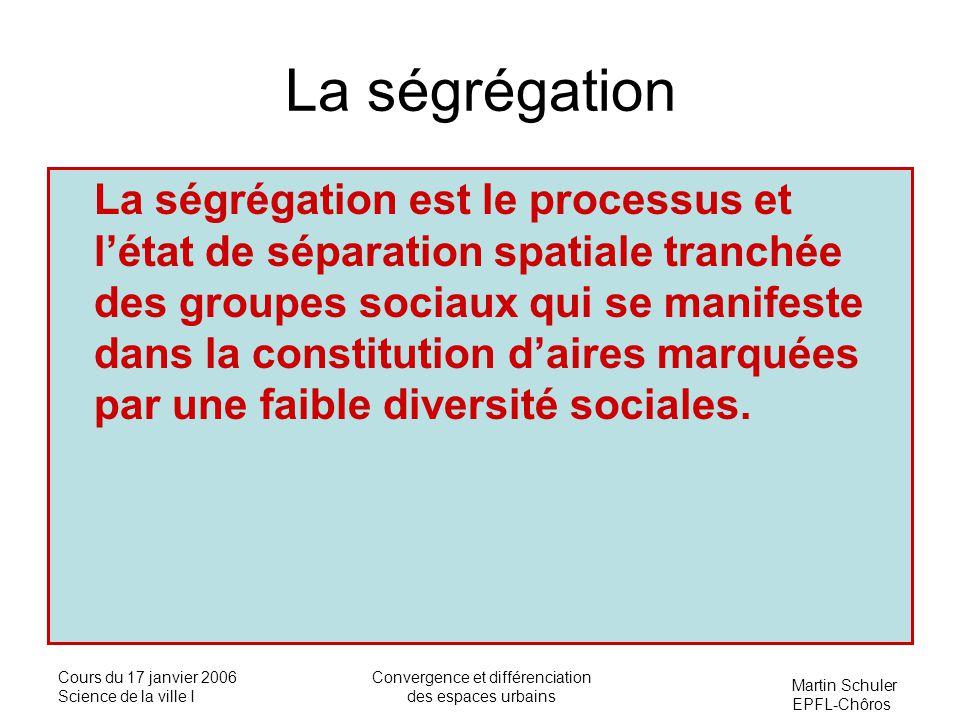 Martin Schuler EPFL-Chôros Cours du 17 janvier 2006 Science de la ville I Convergence et différenciation des espaces urbains La ségrégation La ségréga