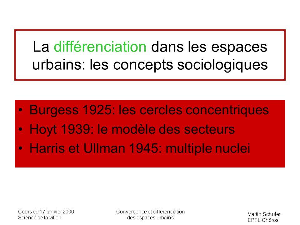 Martin Schuler EPFL-Chôros Cours du 17 janvier 2006 Science de la ville I Convergence et différenciation des espaces urbains La différenciation dans l