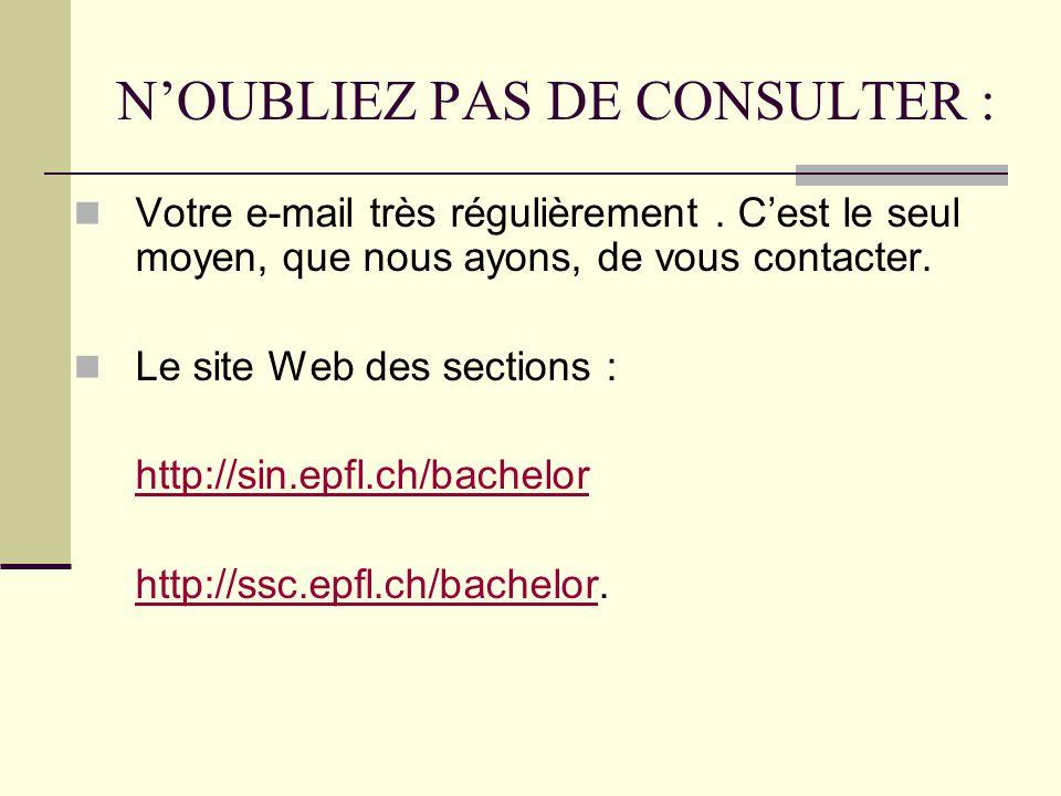 NOUBLIEZ PAS DE CONSULTER : Votre e-mail très régulièrement.