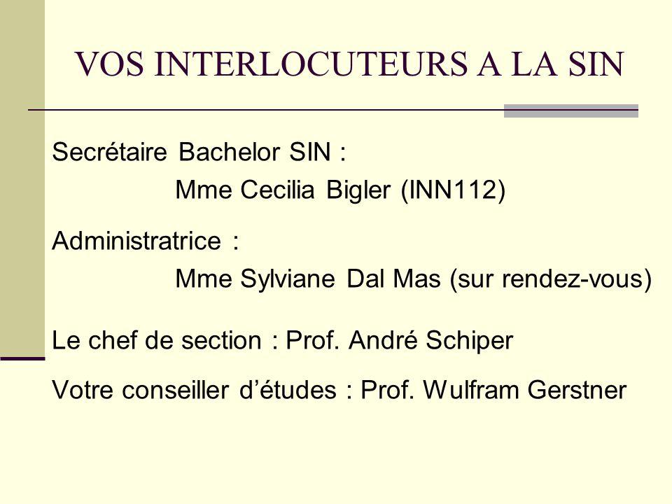 VOS INTERLOCUTEURS A LA SIN Secrétaire Bachelor SIN : Mme Cecilia Bigler (INN112) Administratrice : Mme Sylviane Dal Mas (sur rendez-vous) Le chef de section : Prof.