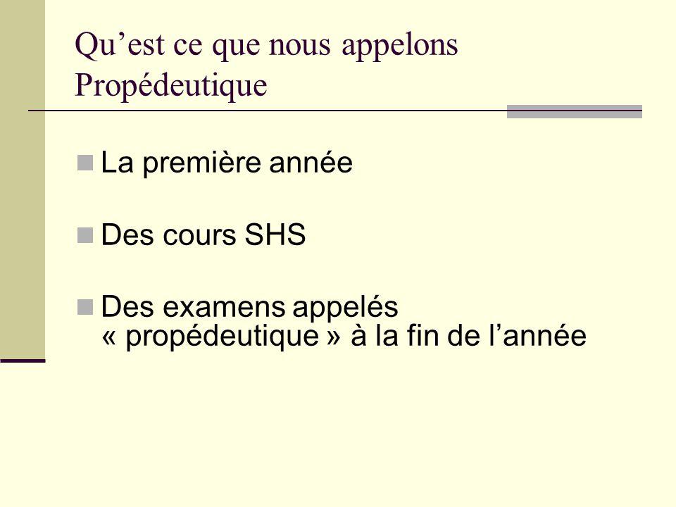 Quest ce que nous appelons Propédeutique La première année Des cours SHS Des examens appelés « propédeutique » à la fin de lannée