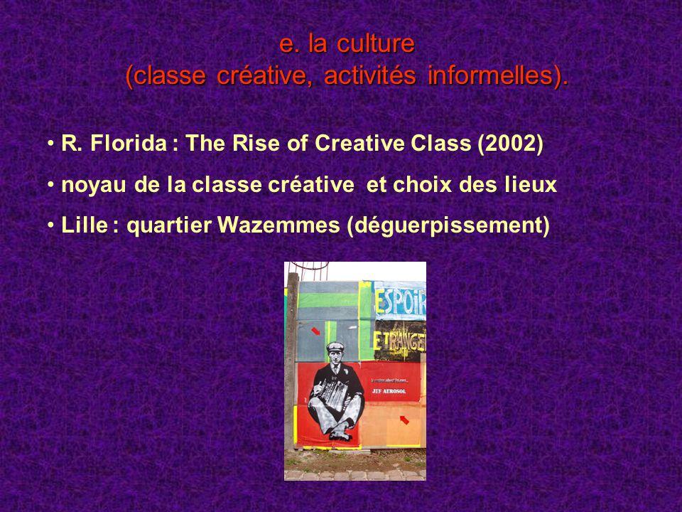 e. la culture (classe créative, activités informelles). R. Florida : The Rise of Creative Class (2002) noyau de la classe créative et choix des lieux