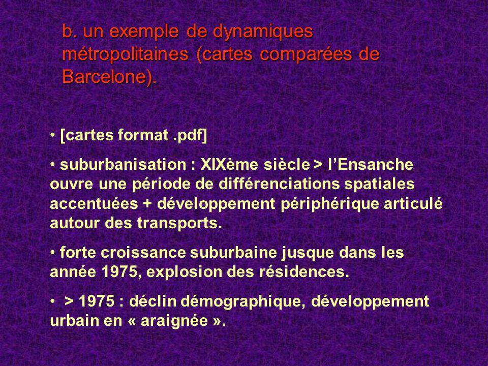 b. un exemple de dynamiques métropolitaines (cartes comparées de Barcelone). [cartes format.pdf] suburbanisation : XIXème siècle > lEnsanche ouvre une