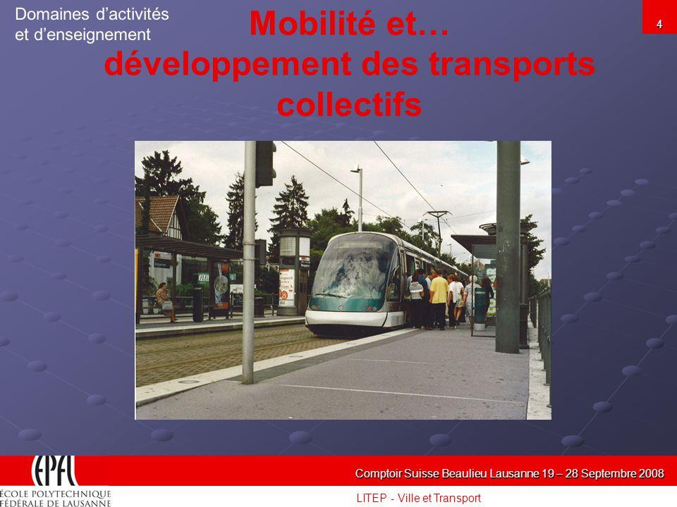LITEP - Ville et Transport Comptoir Suisse Beaulieu Lausanne 19 – 28 Septembre 2008 4 Mobilité et… développement des transports collectifs Domaines dactivités et denseignement