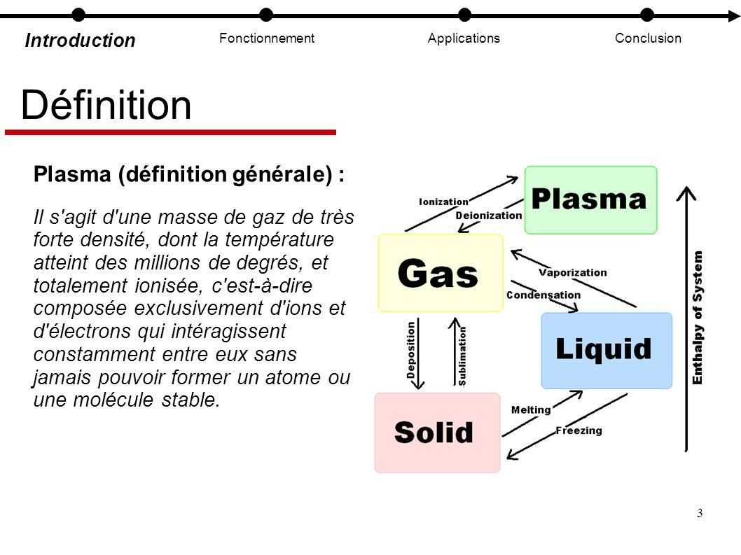 3 Introduction FonctionnementApplicationsConclusion Définition Plasma (définition générale) : Il s'agit d'une masse de gaz de très forte densité, dont