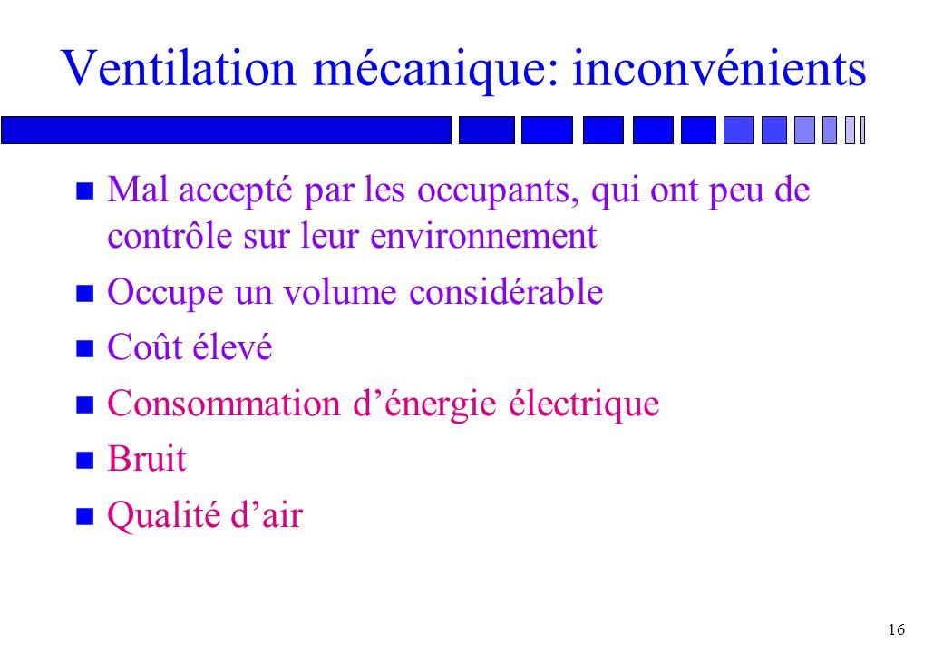 15 Ventilation mécanique: avantages n Ventilation de grands volumes n Contrôle total des débits et du climat n Isolation du bruit et de la pollution e