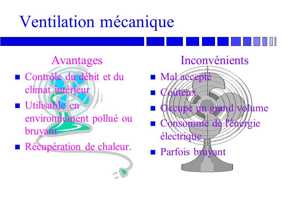 16 Ventilation mécanique: inconvénients n Mal accepté par les occupants, qui ont peu de contrôle sur leur environnement n Occupe un volume considérabl