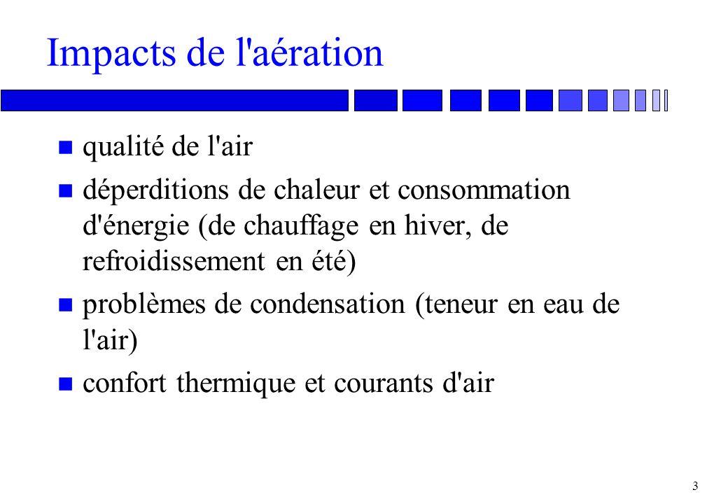 2 Aération et ventilation n Aération: terme général pour tout renouvellement de l'air intérieur d'un bâtiment (ou d'une pièce), en principe échangé co