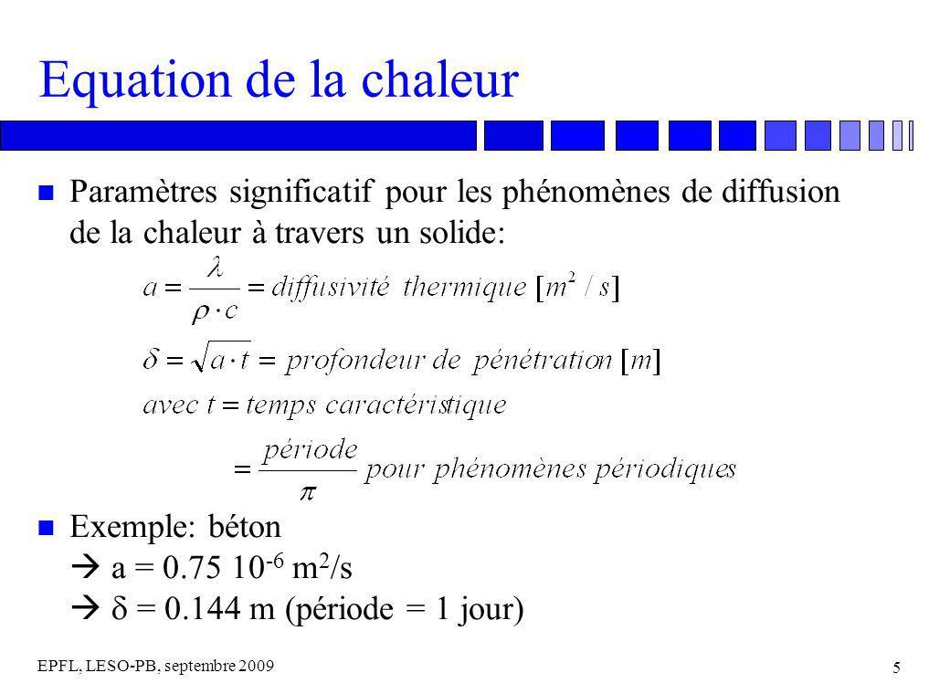 EPFL, LESO-PB, septembre 2009 16 Modèle harmonique multicouches n Calcul de la matrice de transfert thermique dans le cas d une couche homogène: Z 11 = Z 22 = cosh(y) cos(y) + j · sinh(y) sin(y) Z 12 = - /2 · [(sinh(y) cos(y) + cosh(y) sin(y) + j · (cosh(y) sin(y) - sinh(y) cos(y))] Z 21 = - · [(sinh(y) cos(y) - cosh(y) sin(y) + j · (sinh(y) cos(y) + cosh(y) sin(y))] avec: = (a · T / ) ½ = profondeur de pénétration [m] a = / ( c) = diffusivité thermique [m 2 /s] = conduction thermique [W/mK] = densité [kg/m 3 ] c = chaleur spécifique [J/kg] y = d/ (d = épaisseur de la couche [m])