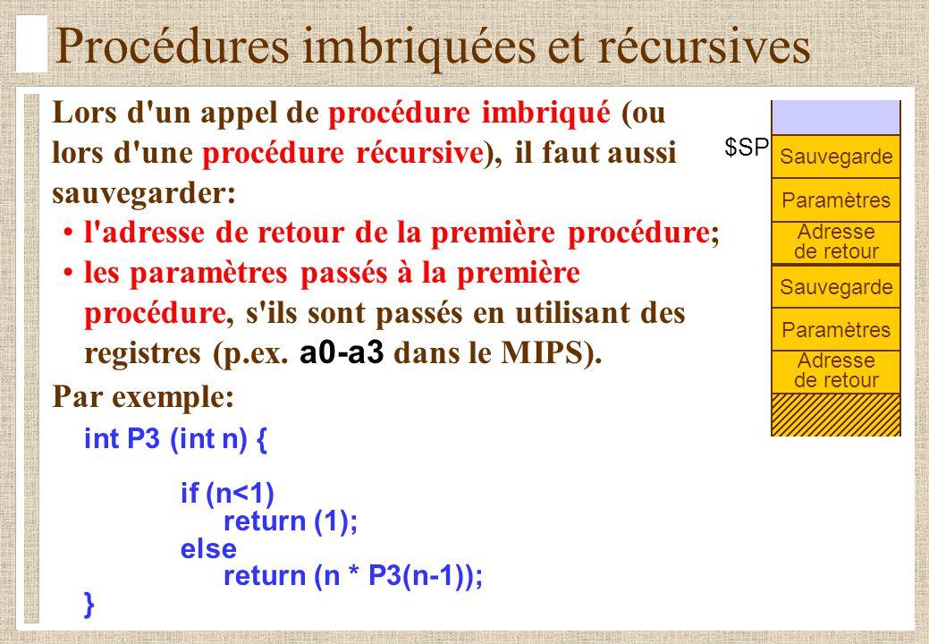 Procédures imbriquées et récursives Lors d un appel de procédure imbriqué (ou lors d une procédure récursive), il faut aussi sauvegarder: l adresse de retour de la première procédure; les paramètres passés à la première procédure, s ils sont passés en utilisant des registres (p.ex.