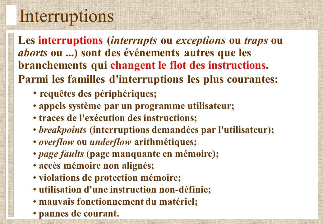 Interruptions Les interruptions (interrupts ou exceptions ou traps ou aborts ou...) sont des événements autres que les branchements qui changent le flot des instructions.
