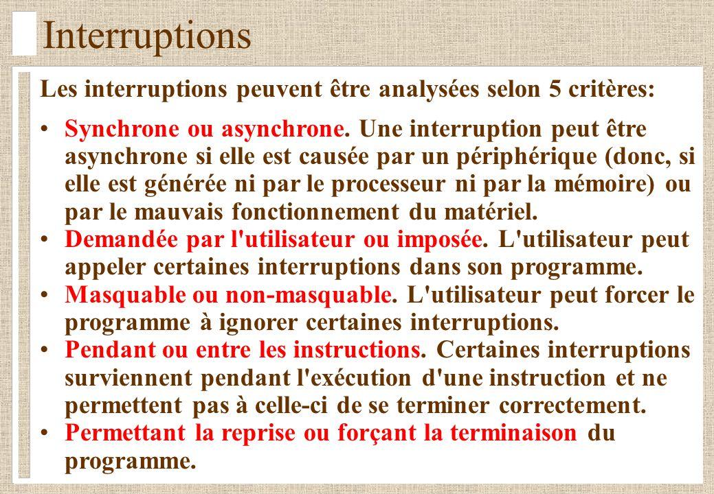Interruptions Les interruptions peuvent être analysées selon 5 critères: Synchrone ou asynchrone.