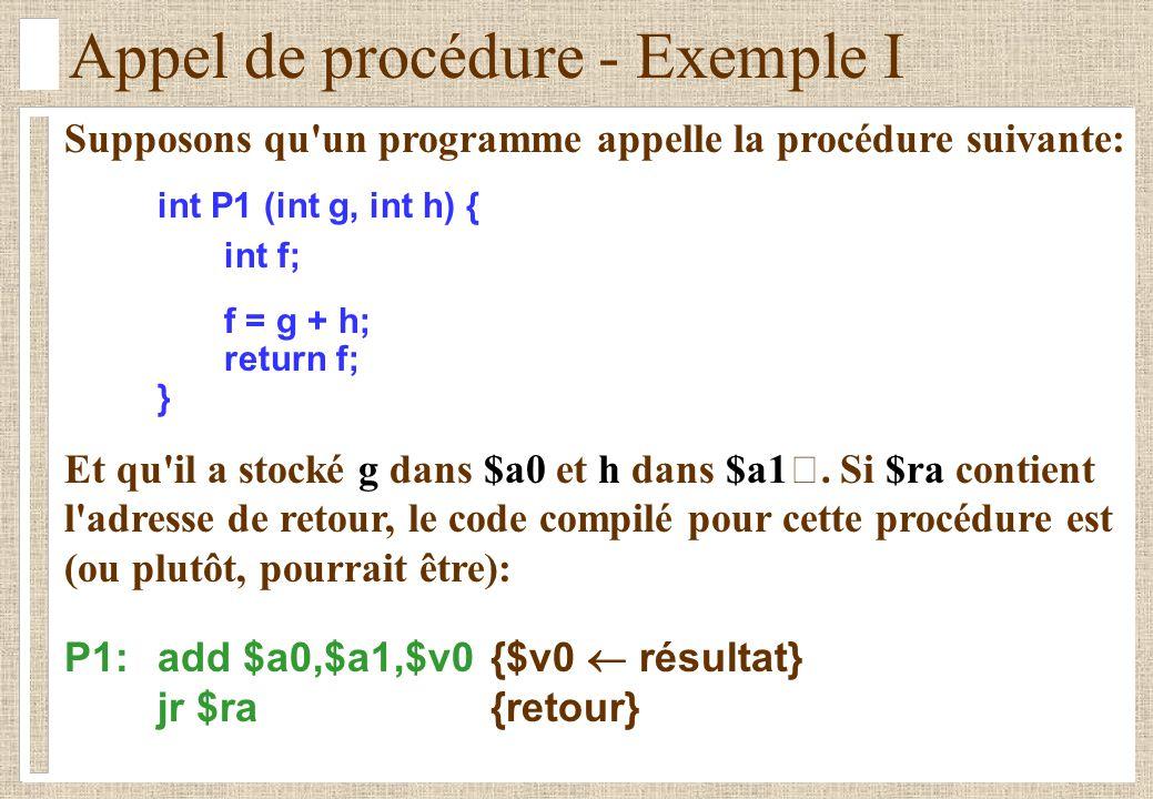 Appel de procédure - Exemple II Lors d un retour de procédure, les registres doivent contenir les mêmes valeurs qu ils avaient avant l appel de la procédure.