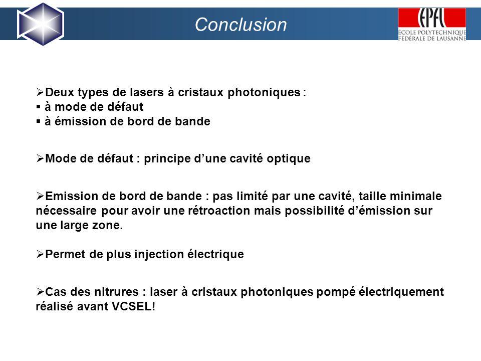 Conclusion Deux types de lasers à cristaux photoniques : à mode de défaut à émission de bord de bande Emission de bord de bande : pas limité par une cavité, taille minimale nécessaire pour avoir une rétroaction mais possibilité démission sur une large zone.