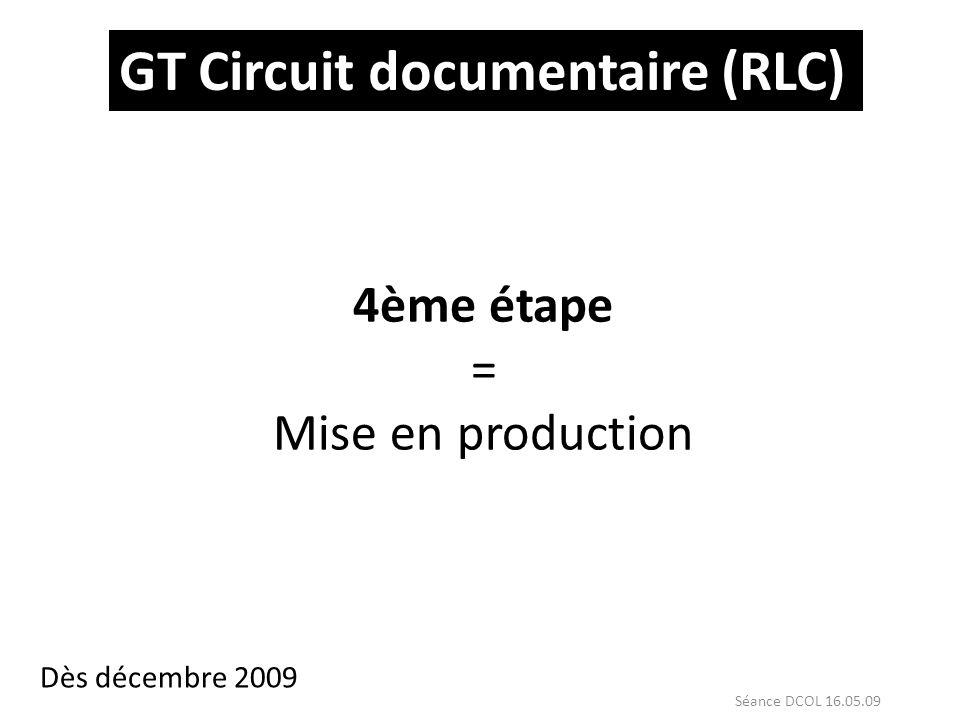 GT Circuit documentaire (RLC) 4ème étape = Mise en production Dès décembre 2009 Séance DCOL 16.05.09