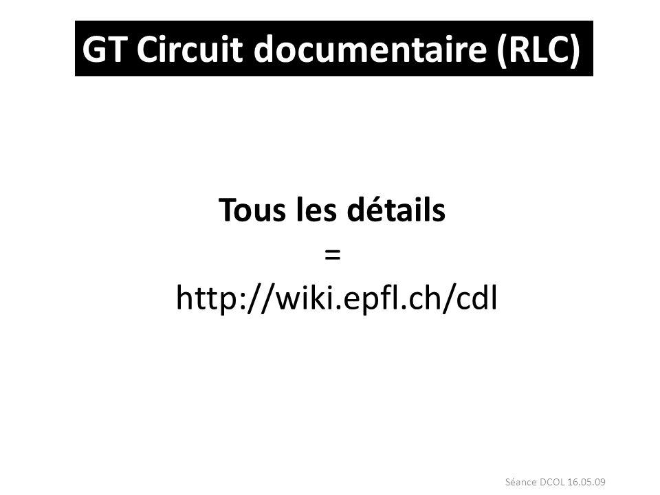GT Circuit documentaire (RLC) Tous les détails = http://wiki.epfl.ch/cdl Séance DCOL 16.05.09