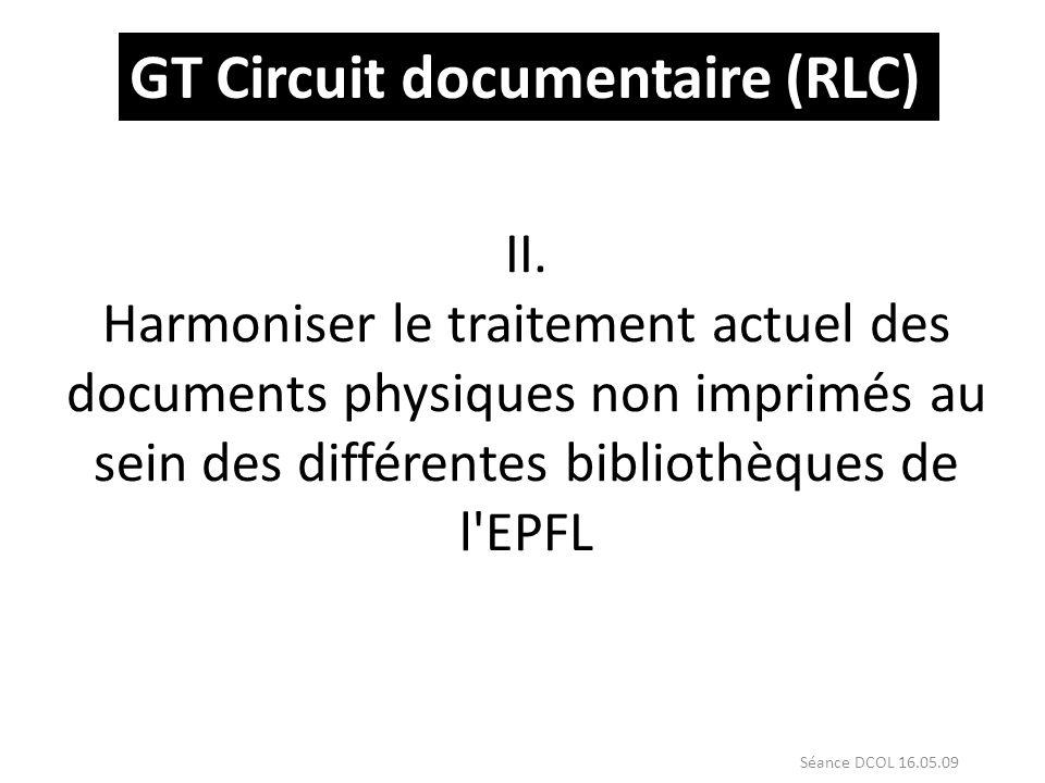 II. Harmoniser le traitement actuel des documents physiques non imprimés au sein des différentes bibliothèques de l'EPFL GT Circuit documentaire (RLC)