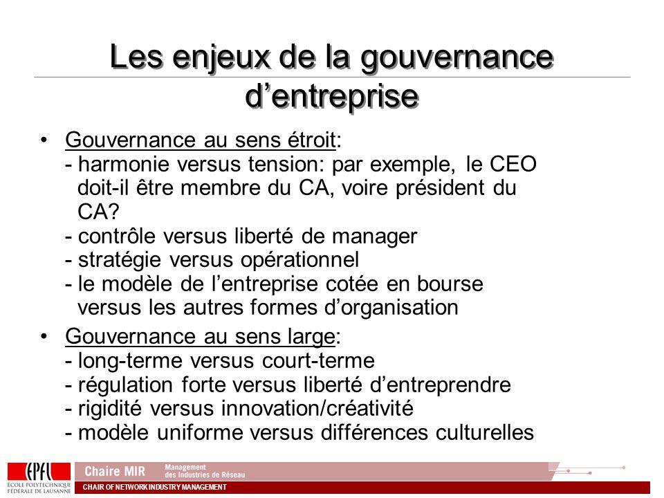 CHAIR OF NETWORK INDUSTRY MANAGEMENT Les enjeux de la gouvernance dentreprise Gouvernance au sens étroit: - harmonie versus tension: par exemple, le C