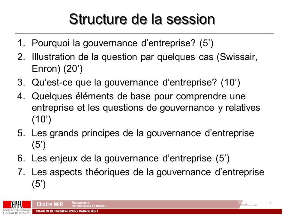 CHAIR OF NETWORK INDUSTRY MANAGEMENT Structure de la session 1.Pourquoi la gouvernance dentreprise? (5) 2.Illustration de la question par quelques cas
