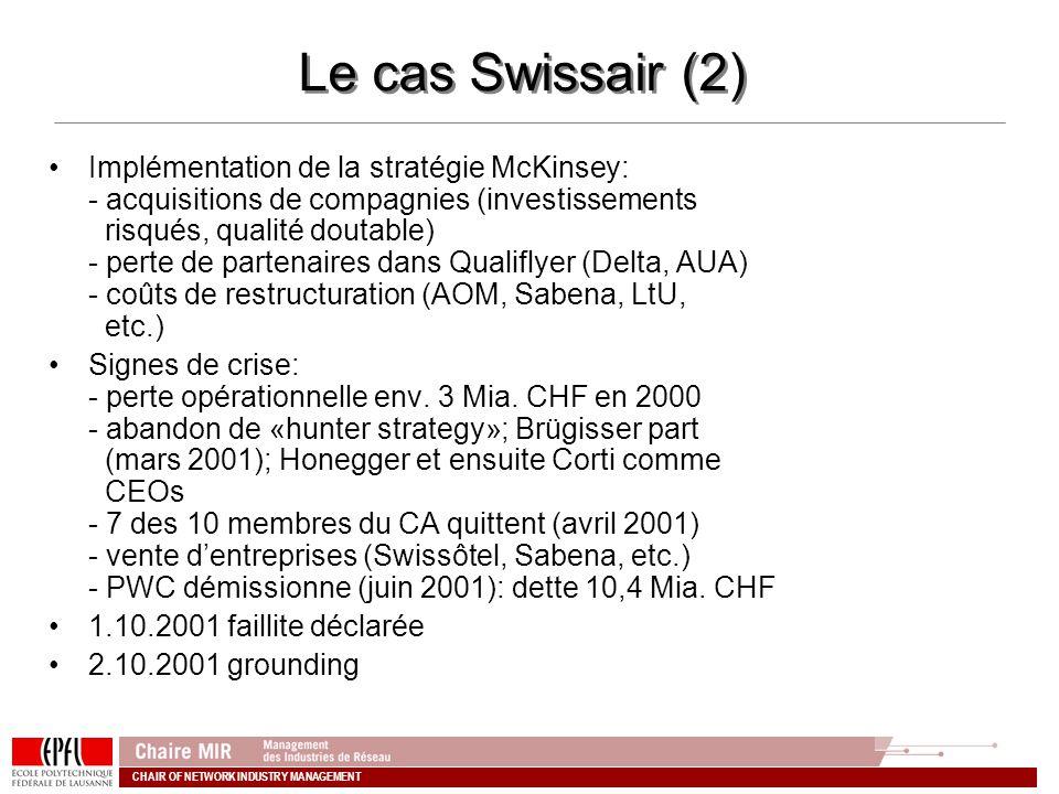 CHAIR OF NETWORK INDUSTRY MANAGEMENT Le cas Swissair (2) Implémentation de la stratégie McKinsey: - acquisitions de compagnies (investissements risqué