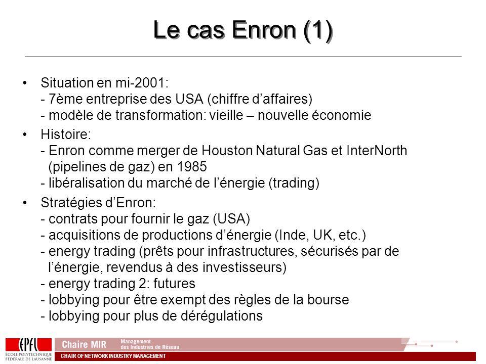 CHAIR OF NETWORK INDUSTRY MANAGEMENT Le cas Enron (1) Situation en mi-2001: - 7ème entreprise des USA (chiffre daffaires) - modèle de transformation: