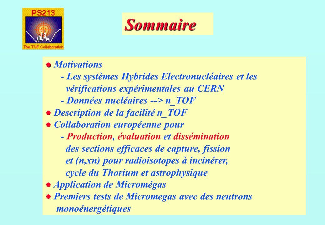 Sommaire Motivations - Les systèmes Hybrides Electronucléaires et les vérifications expérimentales au CERN - Données nucléaires --> n_TOF Description de la facilité n_TOF Collaboration européenne pour - Production, évaluation et dissémination des sections efficaces de capture, fission et (n,xn) pour radioisotopes à incinérer, cycle du Thorium et astrophysique Application de Micromégas Premiers tests de Micromegas avec des neutrons monoénergétiques