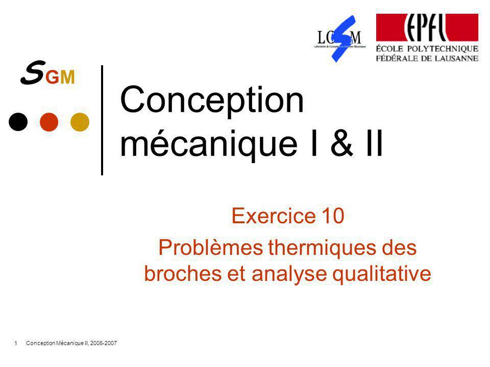 S GMS GM Conception Mécanique II, 2006-20071 Conception mécanique I & II Exercice 10 Problèmes thermiques des broches et analyse qualitative